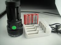 Free shipping SKY RAY 12000Lumens 8x CREE XM-L T6 LED Flashlight Torch Lamp light original box & Battery Charger