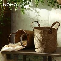 Vareck knitted storage basket snacks cylinder laundry basket handle glove frame debris basket