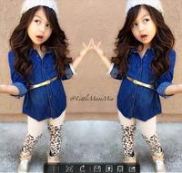 CCS197 Free shipping 2014 girls clothing sets fashion girls autumn dress suits shirt + belt + leopard pants kids clothes retail