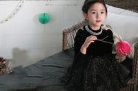2015 new korean design baby girls princess dress girls black dress for new year and christmas vestidos de fiesta Free shipping