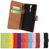 2014 New PU Wallet Leather Case For Xperia S Lt26i Arc HD Phone Cases with Stand Function & Card Holder