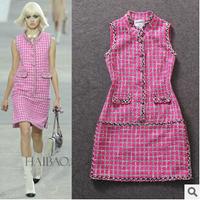 Hot Sale European Style Women Winter Wool Knitted Dresses Fashion Plaid Pink Dresses Femininos Vestidos Free Shipping W10B21