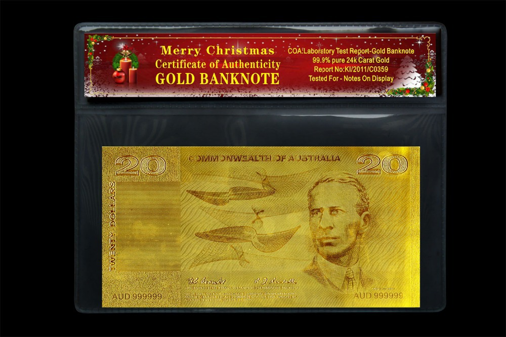 2014 Christmas Gift Old AUD 20 Banknote Gold with PVC Holder and COA Certificate(China (Mainland))