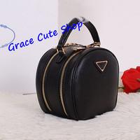 Brand Genuine Leather Mini Trunk Bag Long Straps Double Zipper 6Color Logo Printed Top Quality (Dust Bag,Card) #PR0896
