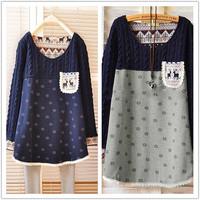 2014 Brand New Autumn Women Christmas Gift Deer Knitted Seatshirt Lady Loose Long Sleeve Pullover Winter Long Knitwear
