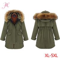 XL-5XL Big Size 2014 New Winter Women Coat Big Raccoon Collar Thicken Cotton-Padded Clothes 2 Piece Set Coat