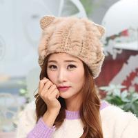 Free Shipping Rabbit ears handmade crochet rabbit fur hat knitted hat fur hat fashion hat female winter beanies cap
