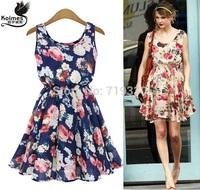 Free Shipping European Brand New Fashion Women Summer Chiffon Tank Dresses Girl Casual Floral Print Dress Vestidos Plus Size