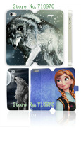 2014 popular style wolf Luxury Flip cover with card holder leather case for iPhone 5S 5 free shipping