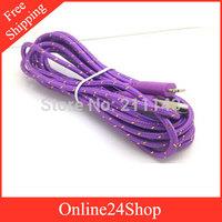 400pcs 2M  6FT Fabric Braided Cable Nylon Data Sync Charging Cords for iphone 5 5s 5c ipad 5 ipad mini ipod nano ipad touch 5