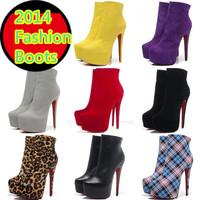 2014 Brand Design Leopard Plaid Women Ankle Boots Side Zipper Genuine Leather 16cm Stiletto Heel Platform Fashion Shoes