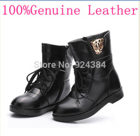 2014 new Ms. Winter  Genuine Leather  Motorcycle boots , flat heel, plus velvet warm Martin boots, fashion boots, free shipping