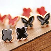 0572 accessories love clover love oil stud earring heart earrings