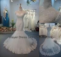 LA43 Real Pictures Gorgeous Short Cap sleeve High Neck Lace Appliques Mermaid Wedding Dresses vestido de noiva sereia 2014