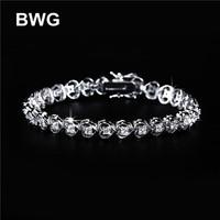 BWG Fashion Jewelry Trend Heart Bracelets Silver Plated A+++ Clear Cubic Zirconia Copper Bracelet For Women SS1010