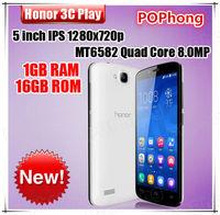 """Huawei Honor 3C Play Hol-U10 Mobile Phone MTK6582 Quad Core 5.0"""" IPS 1280x720p 1G RAM 16GB ROM Rear 8.0MP Dual Camera Dual SIM"""
