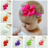 10pcs / color Chic Girl Hair Bow Headband DIY Satin Ribbon Big Bow Elastic Headband for Baby Newborn Infant Toddler Hair Bands