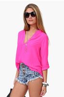 Women Deep V-neck Blouse 2014 Ladies Plus Size M-3XL Sexy Blusas Feminina Casual Camisa Woman Long Sleeve Shirt Tops