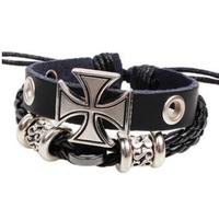 Fashion vintage multi-layer cross male bracelet knitted hand-rope punk lovers alloy cross leather bracelet cross