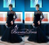2015 Vestido De Festa Long Sleeve Mermaid Long Evening Dress Lace Custom Made Dresses Party Long Prom Gown 2014 Vestido De Renda