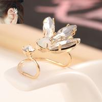 Women Elegant Zircon Earrings Crystal Gold Plated Yellow Luxury Left Ear Cuff Jacket With Rhinestones Fashion Star A05026