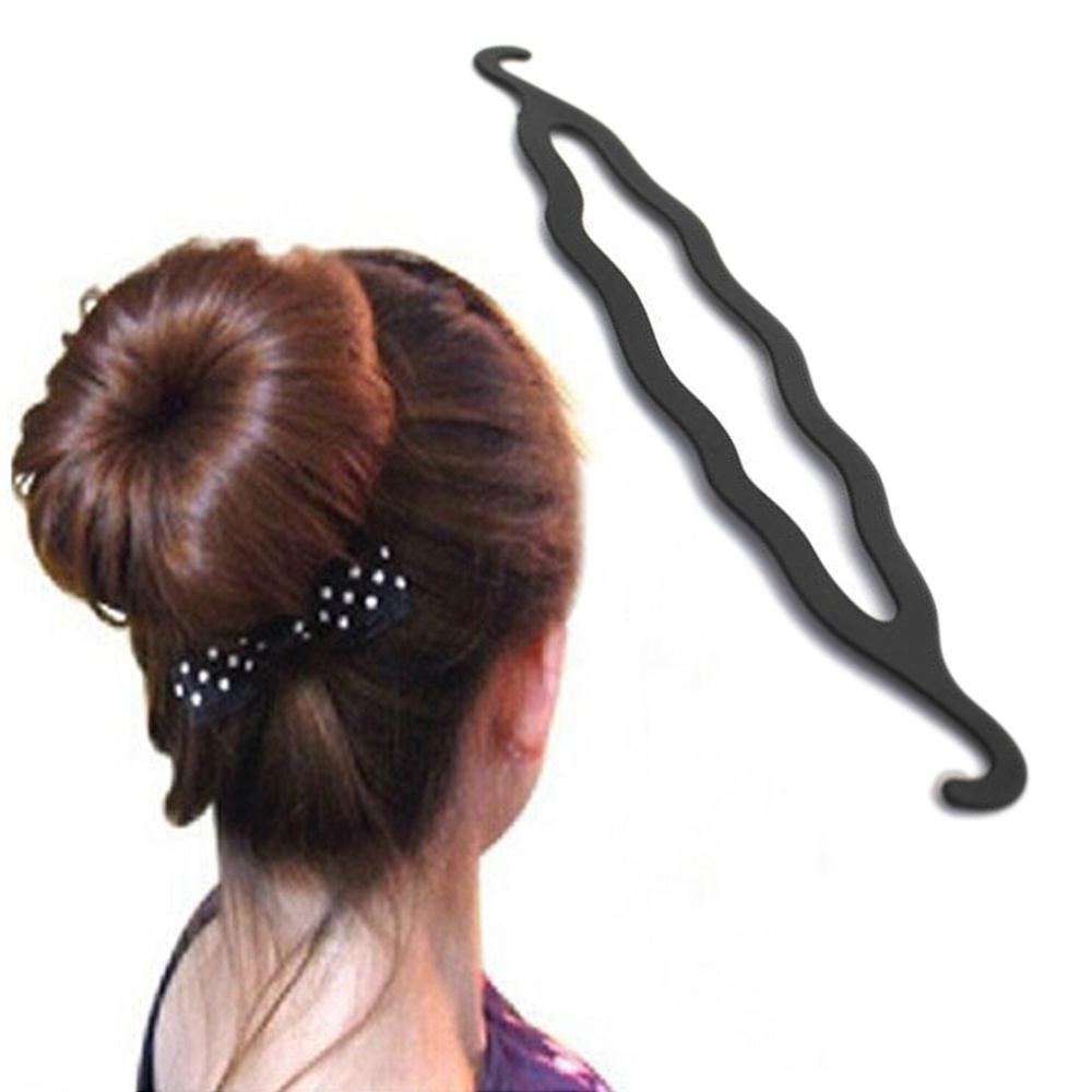 Black hook type clips Magic Hair Plate Donut Bun Maker Former Twist Tool Styling HOT(China (Mainland))