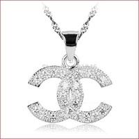 AAA Zircon 925 silver jewelry necklaces pendants wholesale big princess temperament Luxury big shining star Free shipping