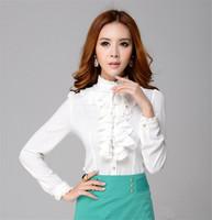 Fashion Office Lady Blouse Chiffon Shirt Ruffled Collar Long Sleeve High Quality Chiffon Blouse Plus Size  Hot  Lady Tops  E5152