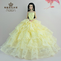 For Barbie dolls clothes , skirts, Yellow wedding, For Barbie doll accessories, Noble dress/ gift