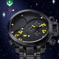 2015 NEW WEIDE Luxury Brand Sports Watches 30 Meters Waterproof Men Full Steel Watch MIYOTA Analog & Date Men Quartz Watch
