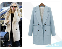 women's  double breasted long coat autumn and winter woolen blends solid color suit outerwear