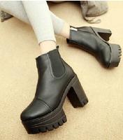 2014 women's shoes high-top pumps ultra thick heel platform zipper high heels shoes leather fashion comfortable women pumps Q264