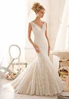 2015 Hot Sale V Neck Lace Mermaid Wedding Dress Bridal Gown Formal Dresse Custom Size 2 4 6 8 10 12 14 16 18 20++