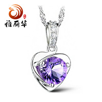 Natural Taobao ClimaCool heart-shaped Necklace Korea accessories wholesale silver fashion jewelry pendant Pendant