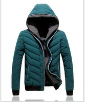 Winter New Mens Cotton padded jackets Thickened Hooded Solid Color Fashion Outwear Overcoats 1 Piece Free Shipping
