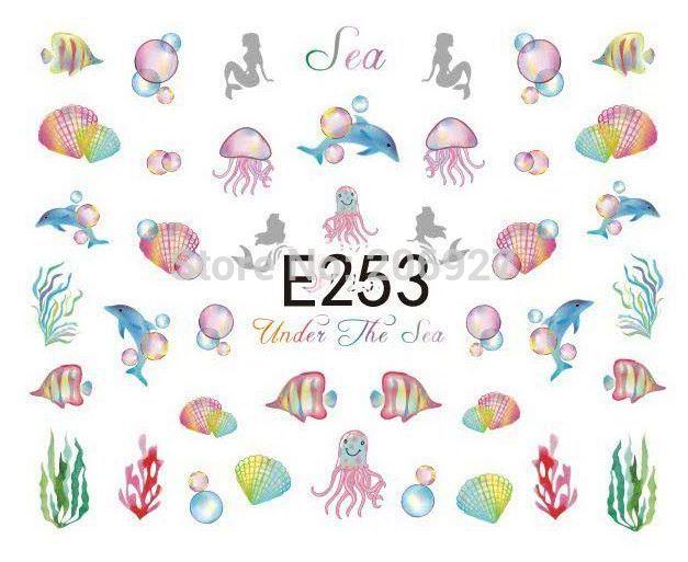 1PC E253 Nail Art Cute Sea Animals Cartoon Sticker Nail Art Sticker(China (Mainland))