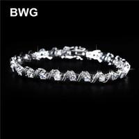 BWG Fashion Jewelry Trend Bracelets Silver Plated A+++ Clear Cubic Zirconia Copper Bracelet For Women SS1007