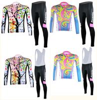 Lady 2014 Spring Autumn Wind women 3D Pattern cycling jersey tight bib pants gel pad girl bicicleta wear Lady ciclismo clothing