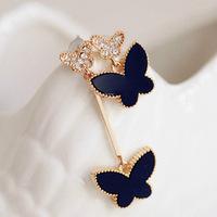 South Korea's new acrylic stones asymmetric earrings earrings butterfly female fashion ladies elegant temperament