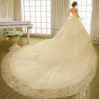 2015 autumn and winter the bride fashion tube top luxury diamond lace train wedding dress