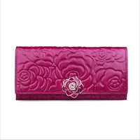 New arrival woman vintage flower hasp solid genuine leather wallets evening handbag tote with 9 different colors