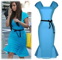 2014 fashion woman hot sale short sleeve slash neck trumpet dress Celebrity Wear To Work Party Bodycon Dress free shipping