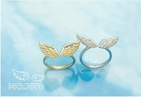 Wholesale 100pcs/lot Free Shipping Fly together angel wings adjustable ring opening couple rings