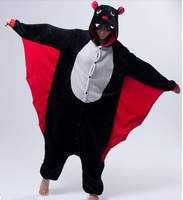 Animal Cosplay Adult Costume Black Bat For Halloween Carnival Party Christmas Adult Onesie Jumpsuit (slipper not included)
