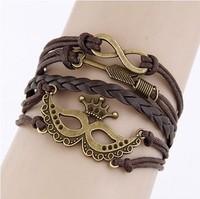 Leather Charm Bracelet Braid Multilayer Bracelet Infinity Anchor Rudder Bracelet Europe Life Tree Bracelets Bangle