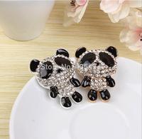 Free shipping cartoon black bear shape crystal rhinestones diy jewelry Fashion phone case decoration oil drop metal stickers