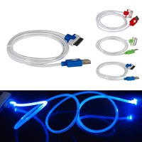 3 Color Best ever Visible LED Light USB Thin Data Sync Charger Charging Cable For iPhone 4 4S