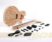 Solid Body DIY Electric Guitar Builder Kit Mahogany Spalted Maple Veneer