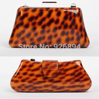 European and American personality charm acrylic leopard handbag clutch evening bag ladies purse wallet mini chain shoulder bag