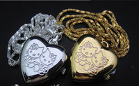 2014 HOT Hello Kitty LOVE Pocket watch Fashion girl Heart-shaped Pendant Necklace Pocket Watch Students watch Key chain table